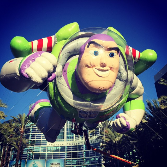To Infinity and Beyond! This Buzz Lightyear balloon was larger than life and greeted guests at the D23 Expo on Friday - photo by Stephanie Shuster.