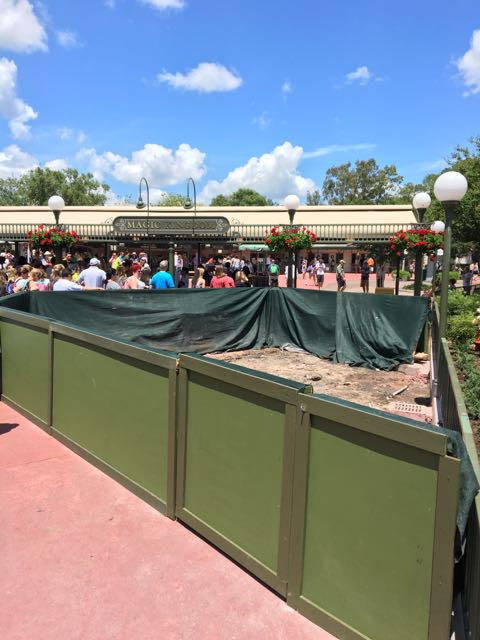 Some work on the pavement leading up to the security check at the Magic Kingdom.
