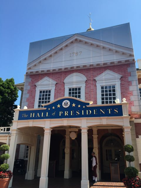 Some work being done on the exterior of The Hall of Presidents.