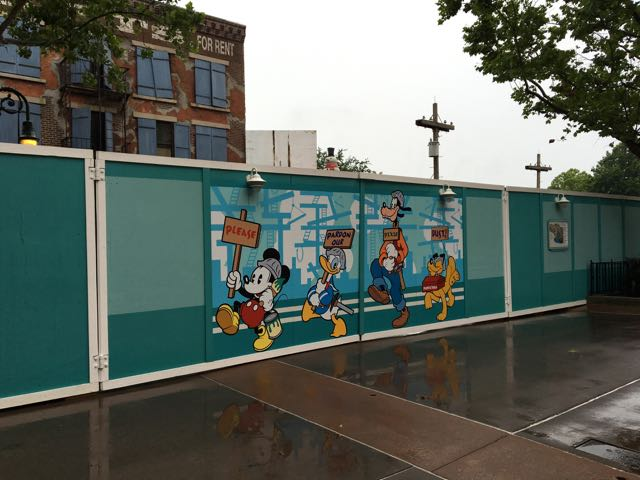 Construction walls for what's going go be the Star Was-themed land!