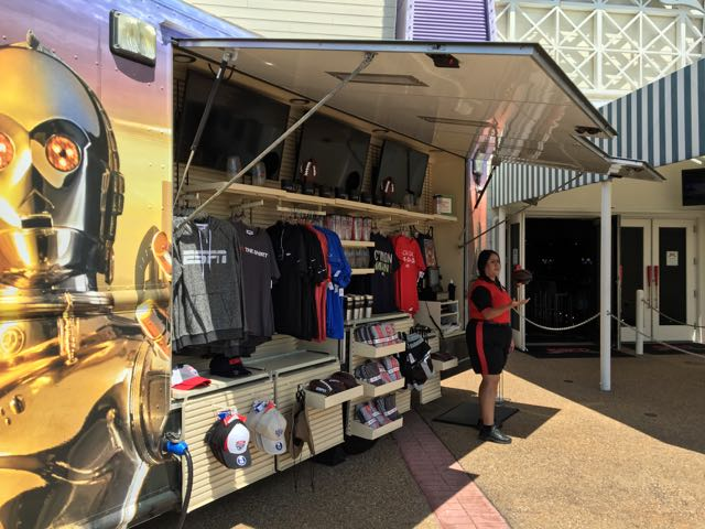ESPN merchandise sold from this WDW-themed van just outside ESPN Club.