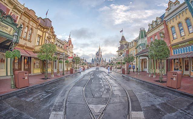 Looking down Main Street USA at Cinderella Castle