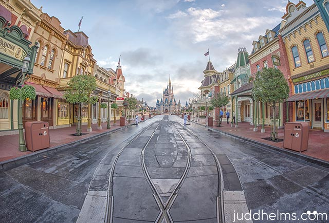 Looking down Main Street USA at Cinderella Castle
