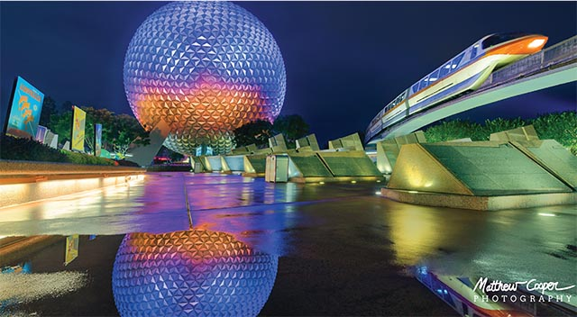 The reflection of Spaceship Earth in the rain