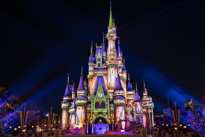 cinderella castle at halloween disney world