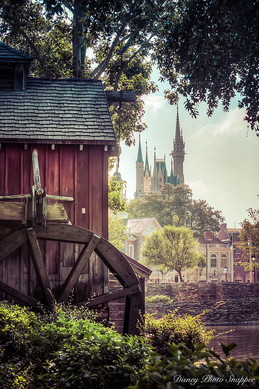 Tom Sawyer Island overlooks Cinderella Castle at Magic Kingdom