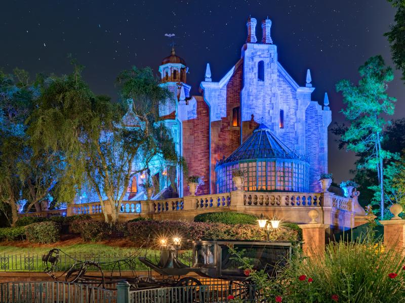 The Haunted Mansion at night at Walt Disney World