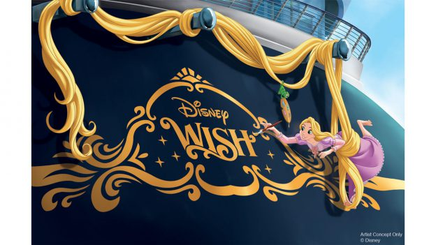 Rapunzel on the stern of the Disney Wish by Disney Cruise Line