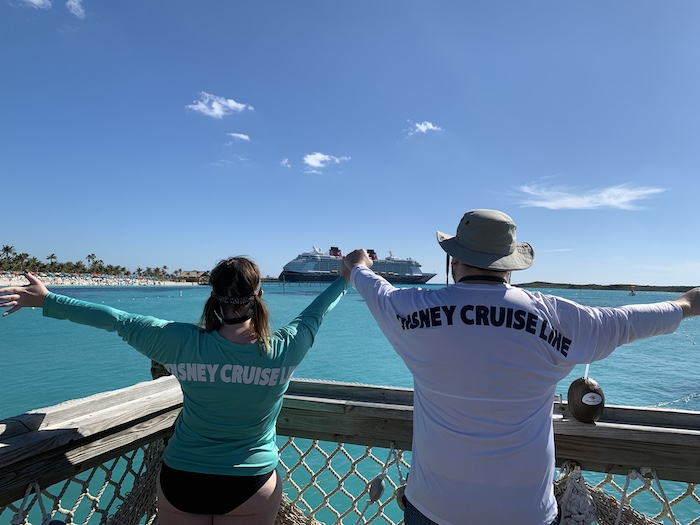 a view of the Disney Dream from Castaway Cay