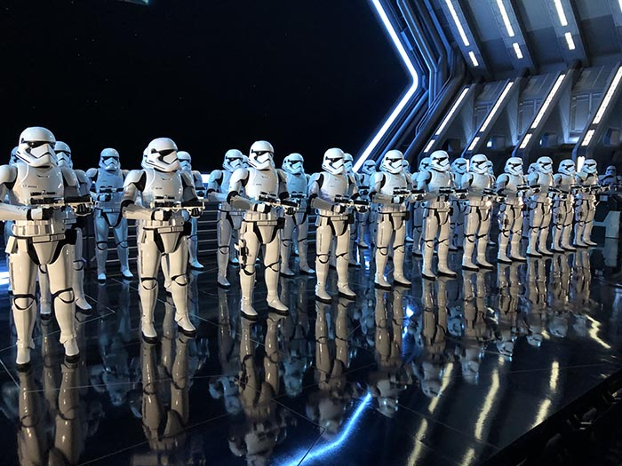 Stormtroopers lined up for a show of force in Rise of the Resistance