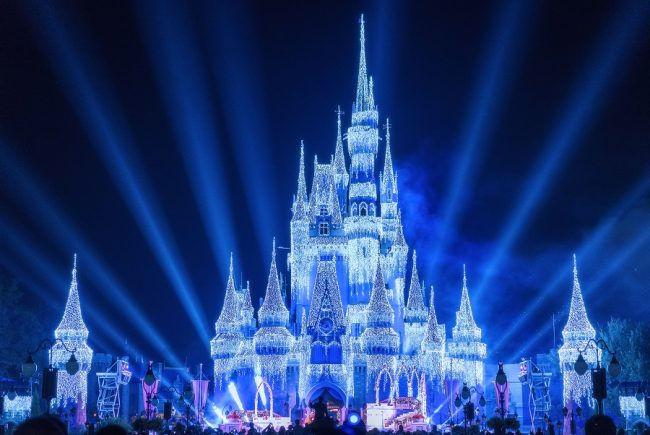 Very Merry Christmas Party Christmas lights on Cinderella castle what does disney world look like at christmas?
