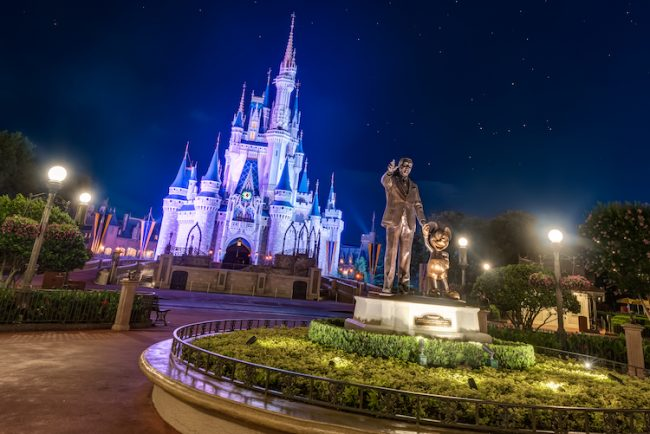 Castle with Partners Statue at Night
