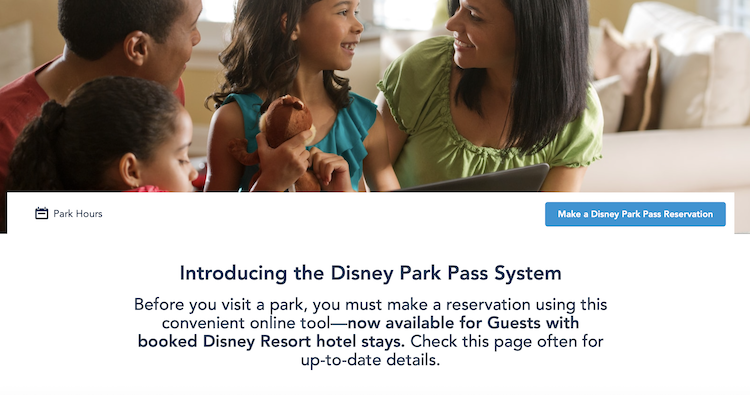 Make A Disney Park Pass Reservation