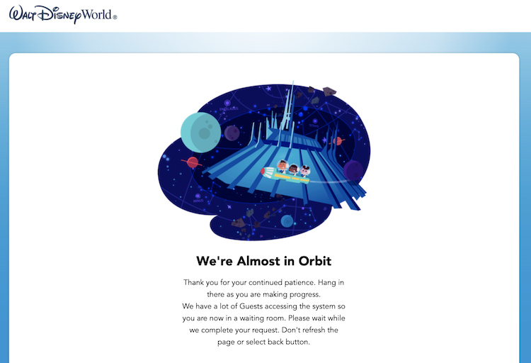 Almost in Orbit virtual waiting room disney park pass