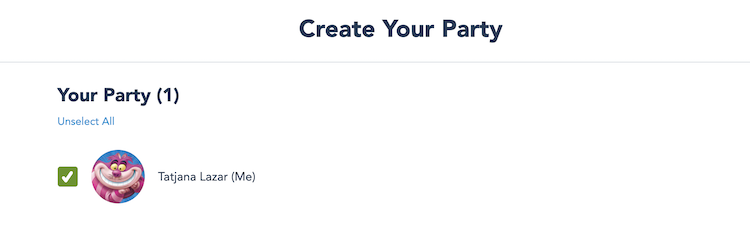 Select Your Party for Disney Park Pass
