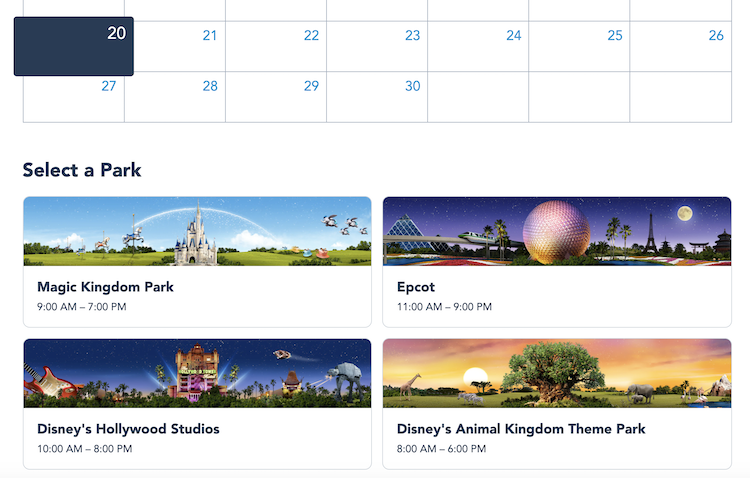 Select a park disney park pass