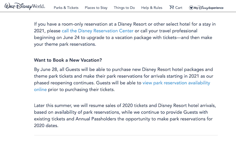 View availability online disney park pass