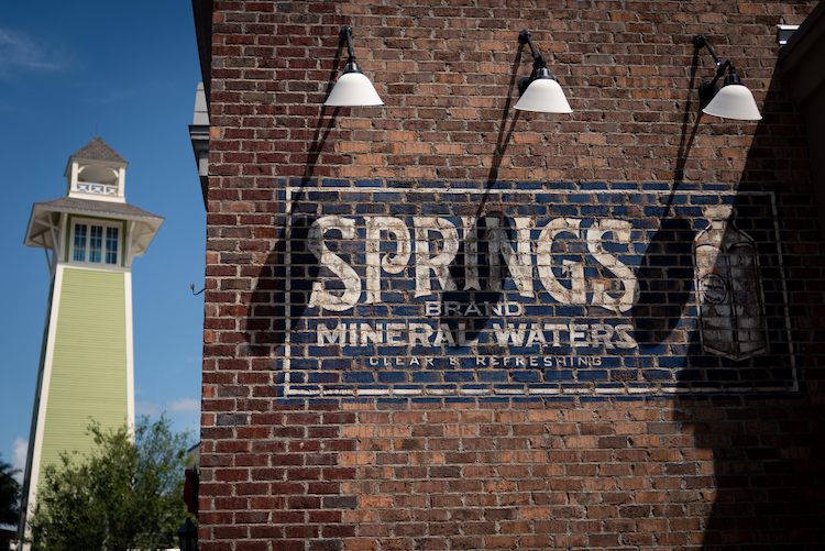 Disney Springs history details on wall