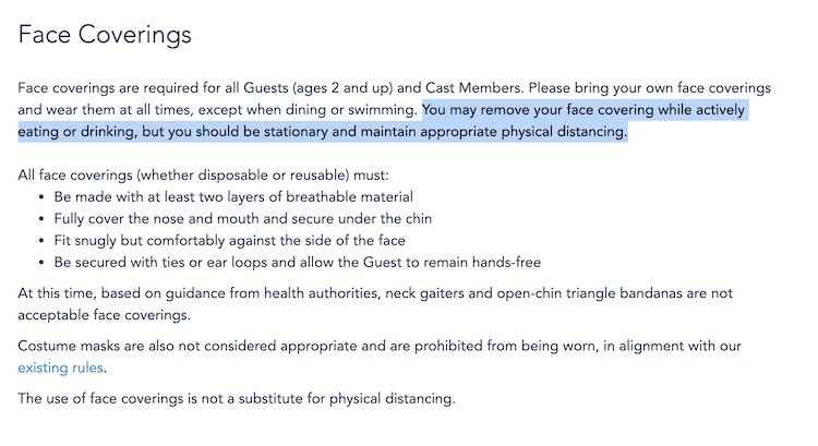 Screenshot saying guests must remain stationary while eating at disney
