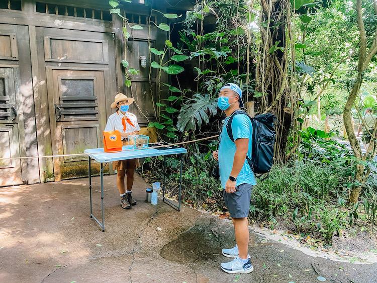 wearing masks at animal kingdom with wilderness explorer