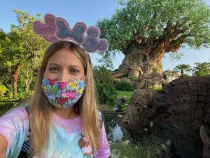 Tree of Life while wearing a mask Annual Pass Preview at Animal Kingdom