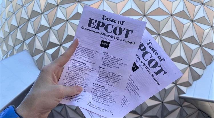 Taste of Epcot menu Passport print menu