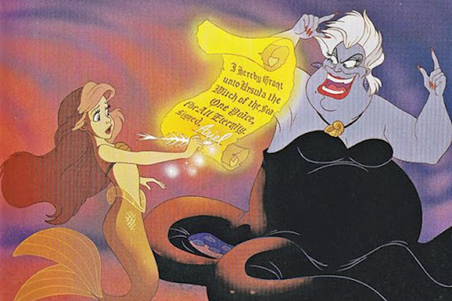 ariel signing evil contract for ursula