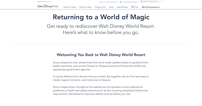 know before your disney vacation website screenshot