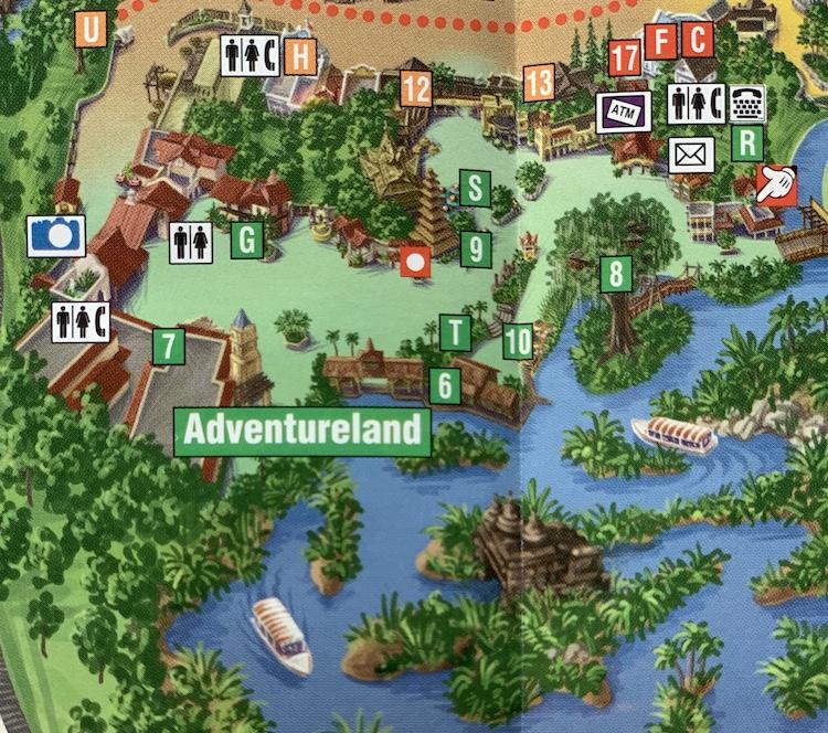 adventureland map magic kingdom in 1998