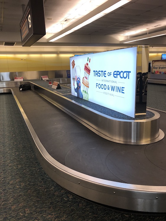 baggage claim at MCO traveling to Disney World