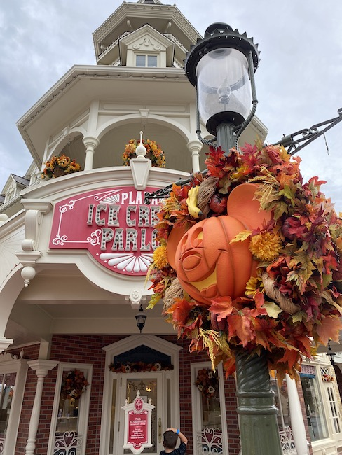 mickey pumpkin on main street usa
