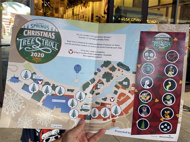 2020 Christmas Tree Stroll map Disney Springs chiu