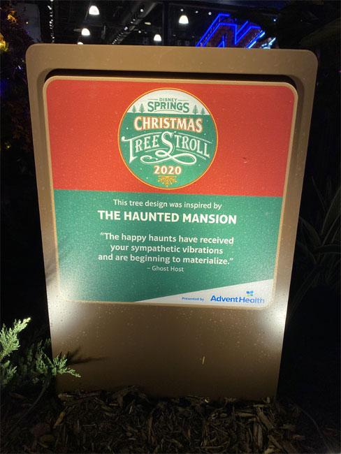 2020 Christmas Tree Trail Stroll Disney Springs Disney World Sign de la Fe