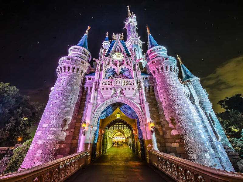 Cinderella Castle at night with light projections