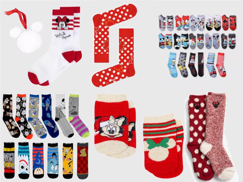 Many pairs of Christmas themed Disney socks
