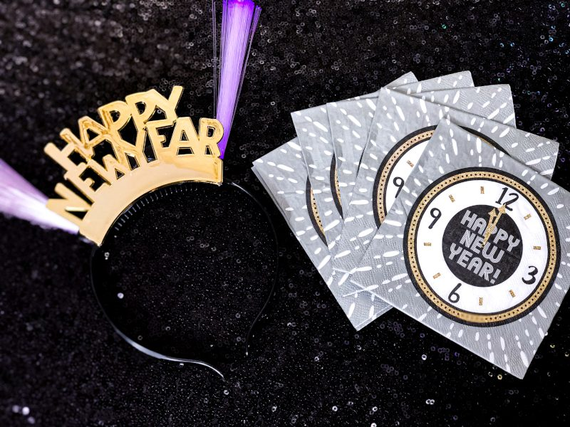 New years headband and napkins, perfect for an at home New Year's Eve Party!