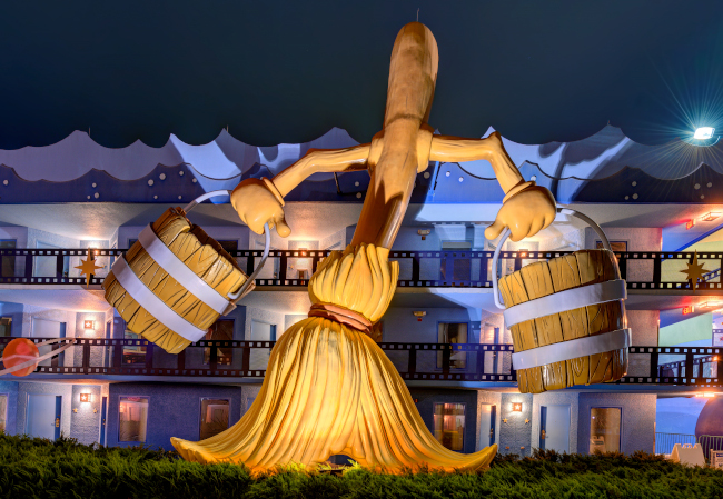 A giant broom from Fantasia at Disney's All-Star Movies Resort