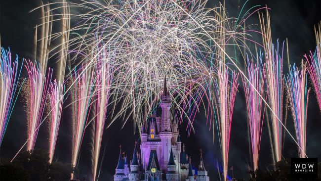 Fireworks burst above Cinderella Castle at Walt Disney World