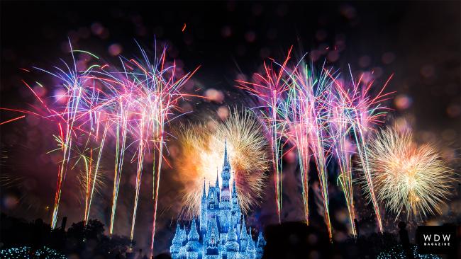 Fireworks explode above Cinderella Castle on New Years Eve at Walt Disney World