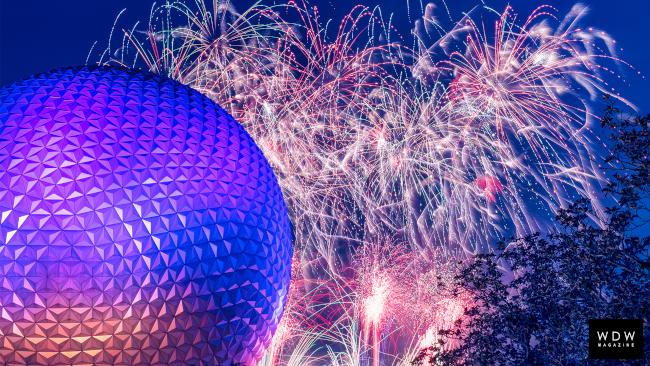 Fireworks blast behind Spaceship Earth on New Years Eve