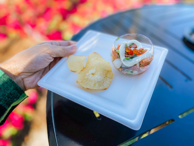 Lomi Lomi Salmon with yucca chips