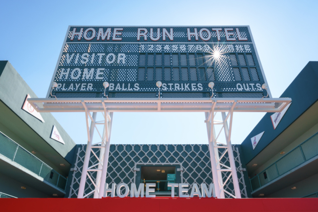 A large scoreboard at Disney's All-Star Sports Resort