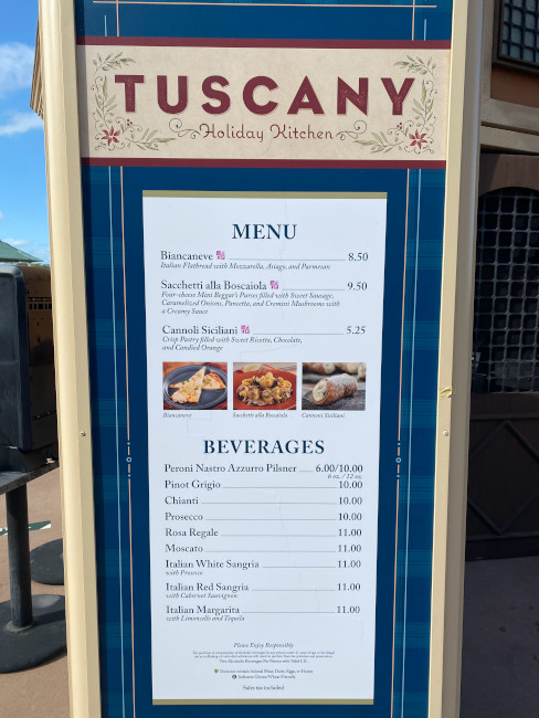 The menu for the Tuscany Holiday Kitchen