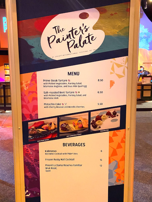 Painter's Palate booth menu at the 2021 EPCOT Festival of the Arts