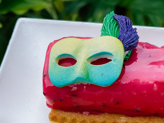 Closeup of the mask on the Passionfruit Mousse