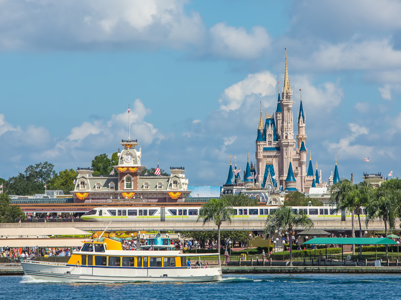 A view of Cinderella Castle and the monorail