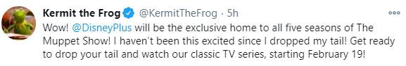 Kermit the Frog Tweet on Twitter