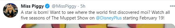 Miss Piggy Tweet on Twitter