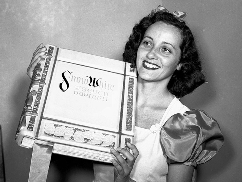 Adriana Caselotti with the Snow White storybook