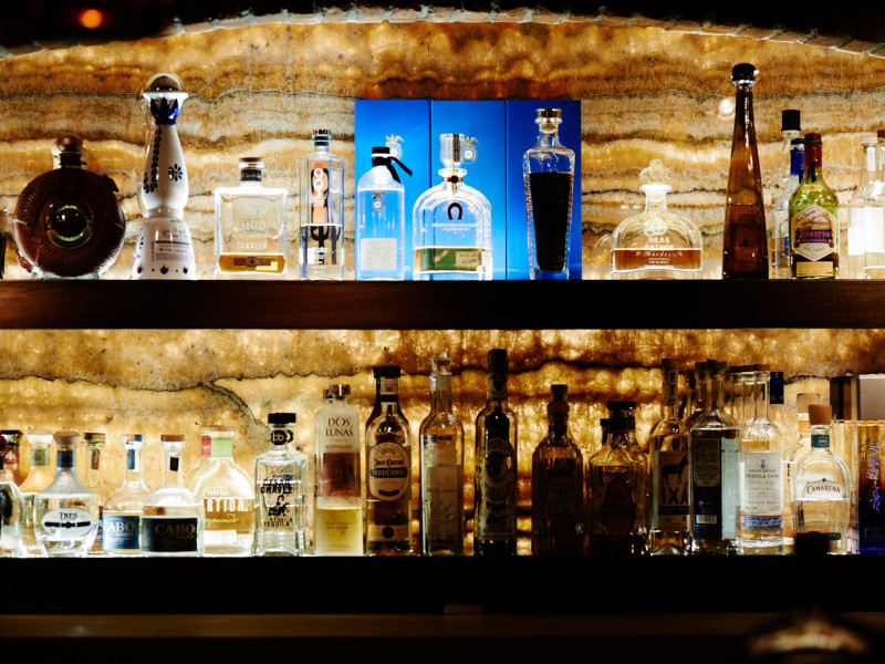 A collection of liquors at La Cava Tequila